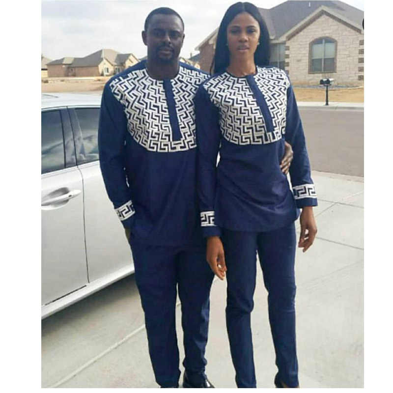 African clothing couple suit geometric print long sleeved