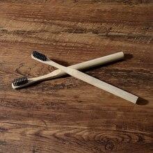 Brosses à dents en bambou souple pour adultes, manche en fibre de bambou, poils à faible teneur en carbone, manche en bambou 100% biodégradable, 10 pièces