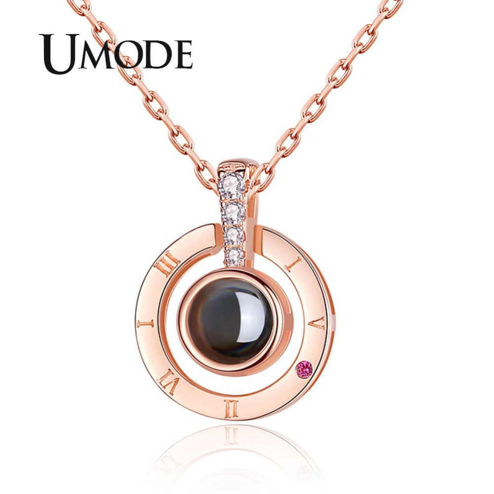 UMODE I Love You Initial Necklace 100 Language Gifts for Women Friends Jewelry Accessories Romantic Number Pendants Femme UN0311 image