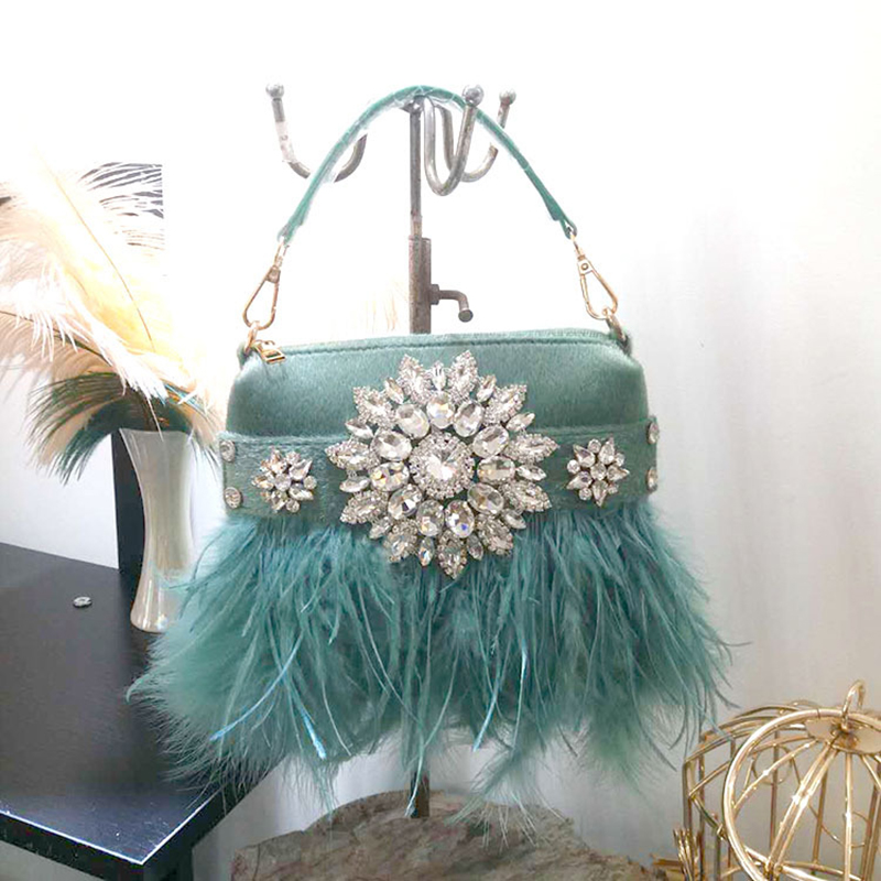 Real Ostrich Fur Evening Bag For Women Tassel Diamond Shoulder Bag For Party Wedding Luxury Day