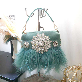 Bolso de noche de piel auténtica de avestruz para mujer, bolso de hombro con borla de diamante para fiesta, boda, bolso de mano de lujo, bolso de mano de día a la moda, bolso de mano