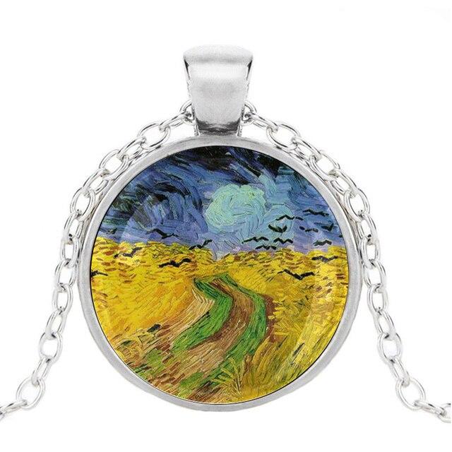 Van Gogh Starry Night Necklace Pendant Art jewelry Impressionism keyring cb29