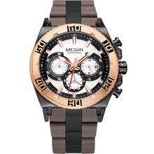 Megir Cronógrafo reloj de Los Hombres 6 Manos 24 Horas Reloj Deportivo Multifunción de Silicona de Lujo Top Brand Militar Relogio masculino