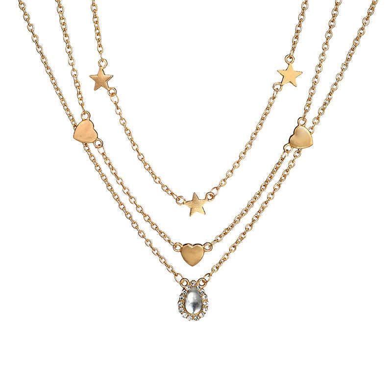 Rscvonm Air Drop Multilayer Crystal Pendant Kalung Wanita Emas Warna Manik-manik Bulan Bintang Horn Crescent Kalung Kalung Perhiasan