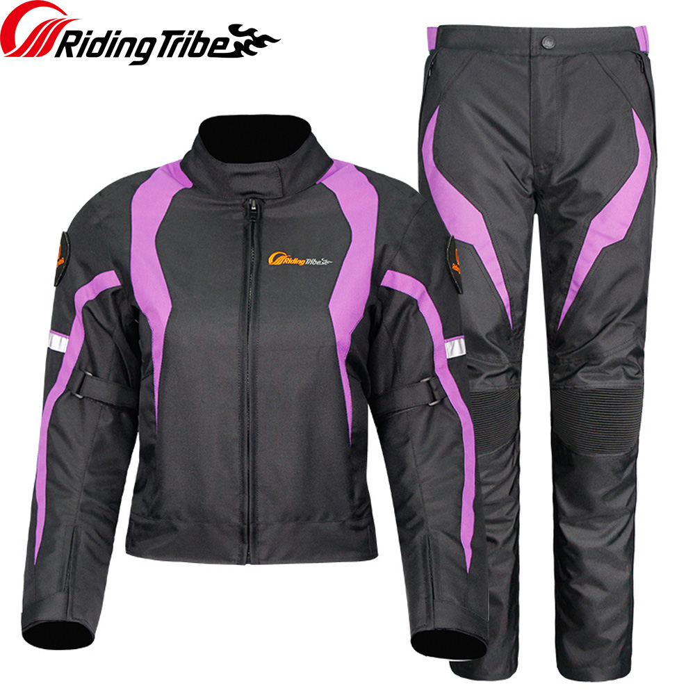 Women Motorcycle Winter Jacket Waterproof Four Season Motorbike Racing Clothes Moto Protective Trousers JK 64