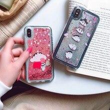 For iPhone XS XR XS MAX Anti-knock Case For iPhone X 6 6S 7 8 Plus Cartoon Crayon Shin-chan Liquid quicksand Soft TPU Phone Case цена и фото
