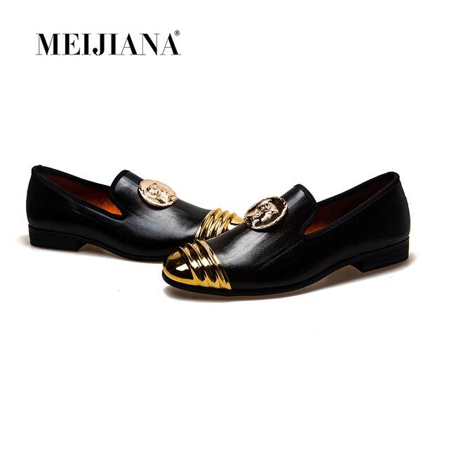 15d40d106cdc6 MeiJiaNa płaskie buty wsuwane mokasyny buty męskie modne męskie na co dzień  buty ze skóry lakierowanej