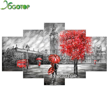 YOGOTOP DIY Diamond Painting Cross Stitch Kits Diamond Embroidery London tower car Full Diamond Mosaic Needlework 5pcs/set ML082