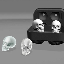 Silicone Black 3D Skull Head Ice Cream Cube Mold Machine Ice Making Ball Mold Maker Mould Tray Reusable Kitchen Tools