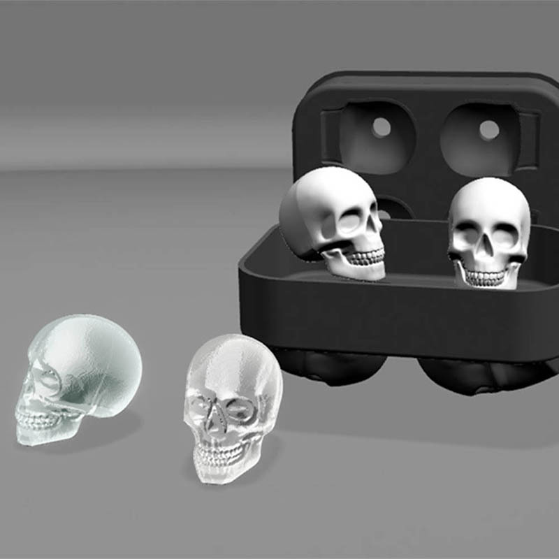 Silikon Schwarz 3D Schädel Kopf Eis Cube Form Maschine Eisherstellung Ball Mold Maker Mould Fach Reusable Küche Werkzeuge
