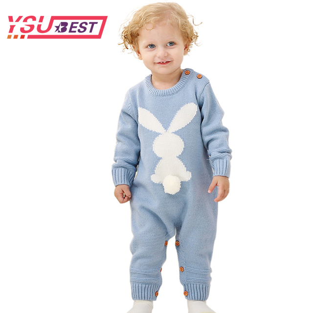 a1e2a25a4449 Baby Girls Rompers 3D Rabbit Knitted Toddler Boys Jumpsuits Long Sleeve  Newborn Infant Bunny Onesie Outfits Button Cover Costume