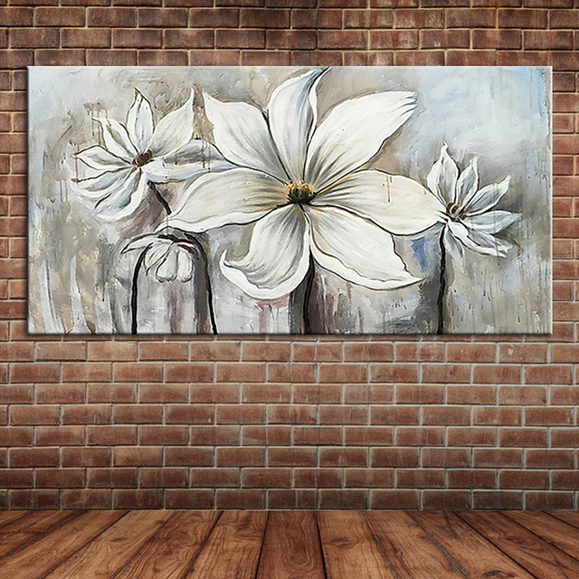 Blanc Fleurs Tissu Art Peinture  LHuile Grand Mur Toile Art Pour