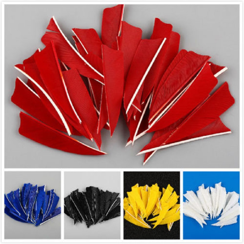 "50pcs 3"" Natural Handmade Turkey Arrow Feathers Hunting Arrow Fletching Vanes 5 Colors"