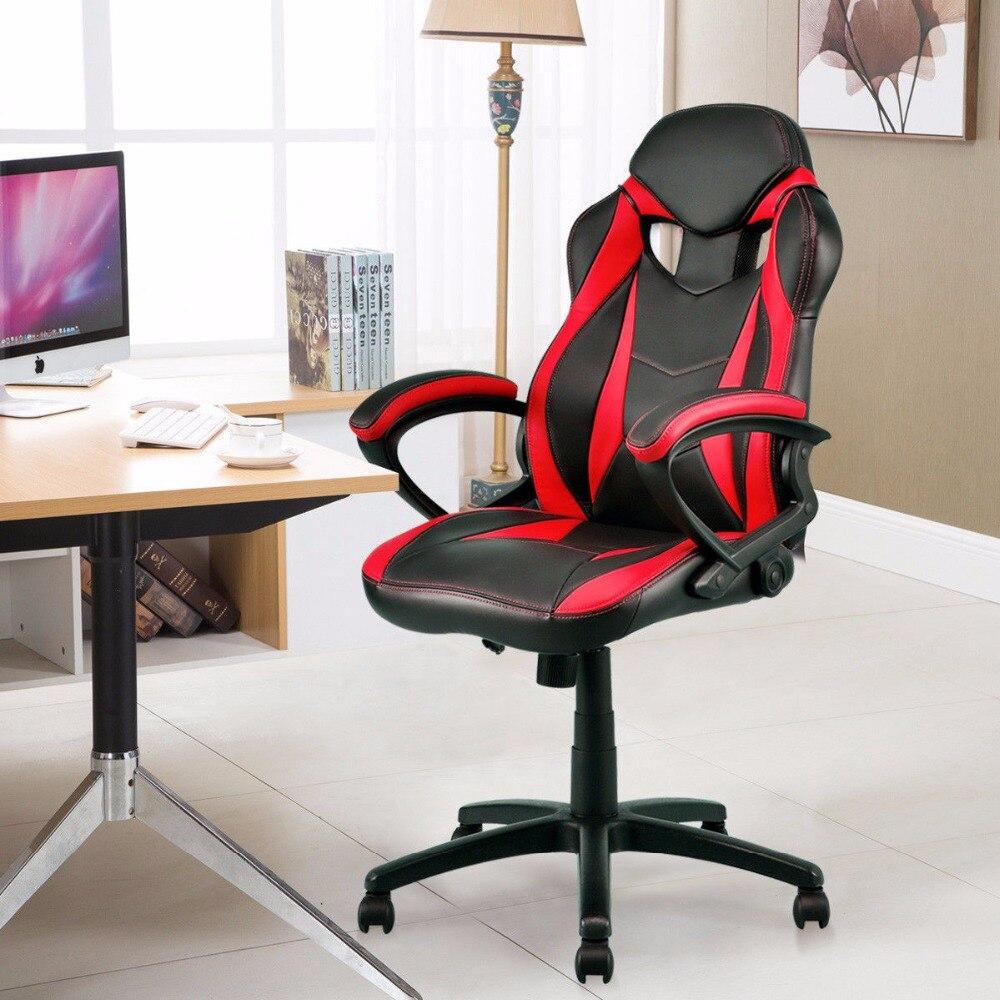 Giantex nouveau exécutif course voiture Style chaise haut dossier seau siège pivotant bureau ordinateur chaises en cuir Pu chaise de jeu HW56142