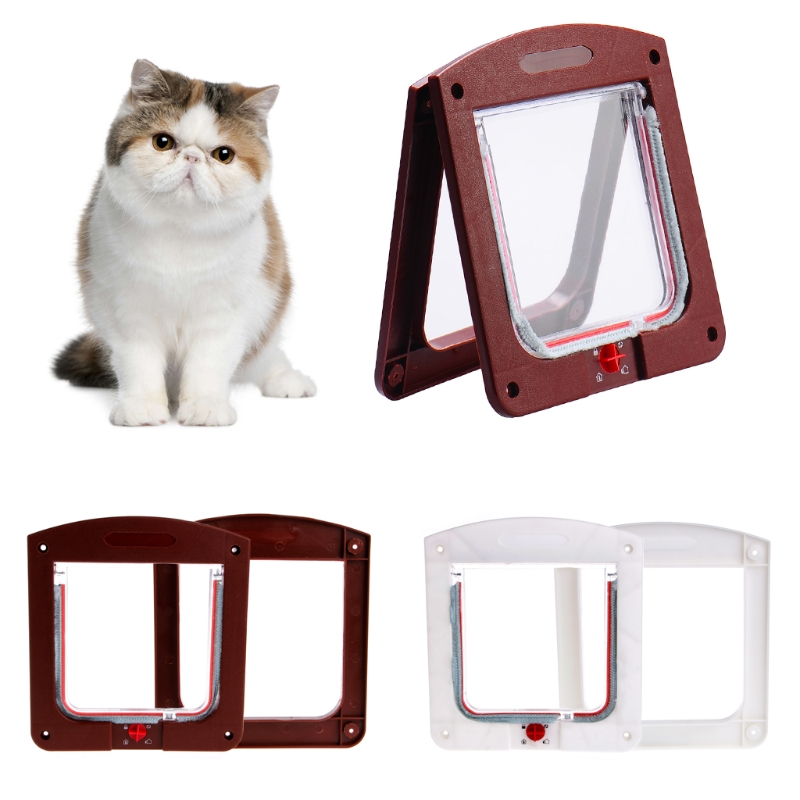 4 Way Pet Cat Kitten Puppy Dog Small Animal Lock Lockable Safe Flap Door Gate