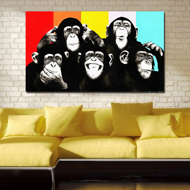 JQHYART Animal Canvas Art Oil Painting Pop Art Funny Chimps Wall ...