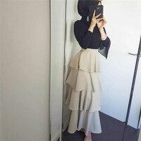 2019 Summer new tiered modest muslim skirts for women dubai arab turkey islamic clothing long skirt plus size M XL