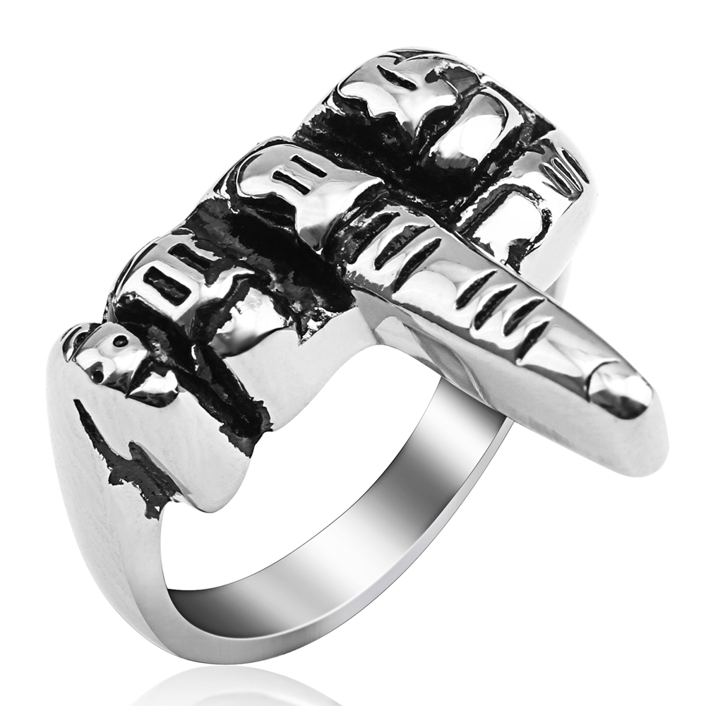 (12 PCS/LOT) Mimeng Hip-hop Finger Titanium Ring Punk Style Ring Exaggerate Men Jewelry
