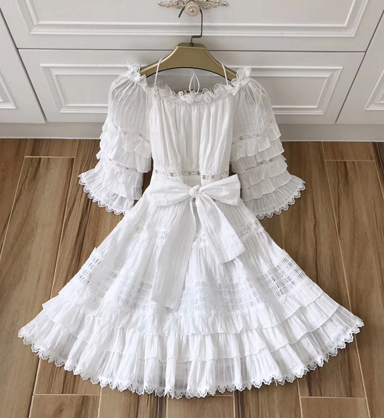 03d4dfde11 2018 High Quality Women s Designer Runway Summer New Heavy Work Embroidered  Lace Patchwork Dress White Cotton Cake Dress