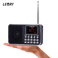 LEORY Portable Mini FM AM Radio Speaker Music Player TF Card USB Stereo Radio With LED
