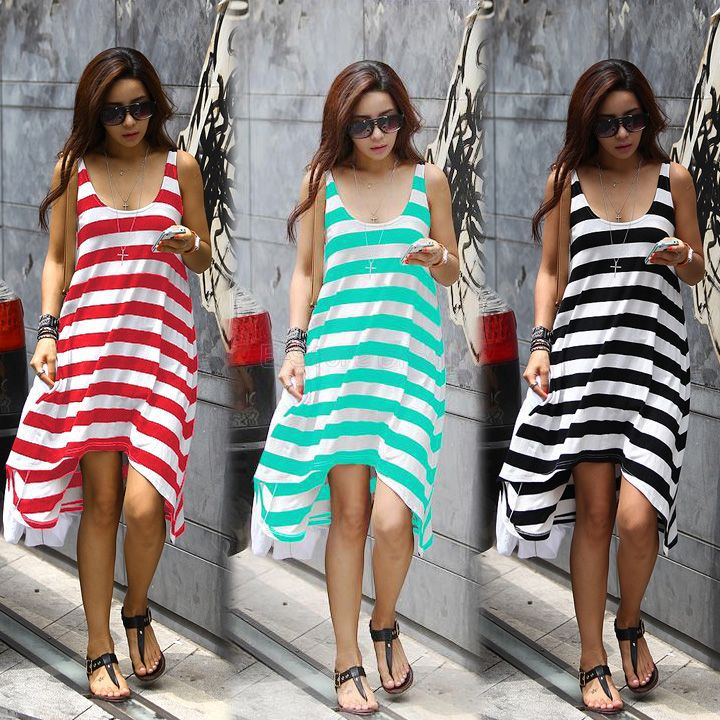1153d0648dd Girl Casual Striped Irregular Beach Dress Women Sleeveless Tank Sundress  Long Maxi Dress Summer Dropshipping Vestidos 16368