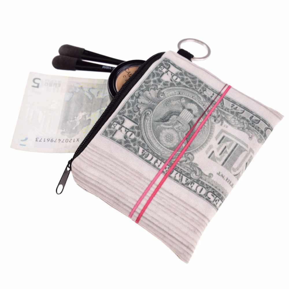 Jocker Dólar Prints Mini Praça Coin Purse Wallet 3d Mulheres Bolsa Bolsa Feminina Pequena Bolsa Com Zíper Chave Menina Porte Monnaie sacos