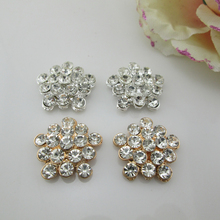 (BT252 23mm)5pcs Craft Pearl Crystal Rhinestone Buttons Flower Round  Cluster Flatback Wedding Embellishment ff7ce921f126