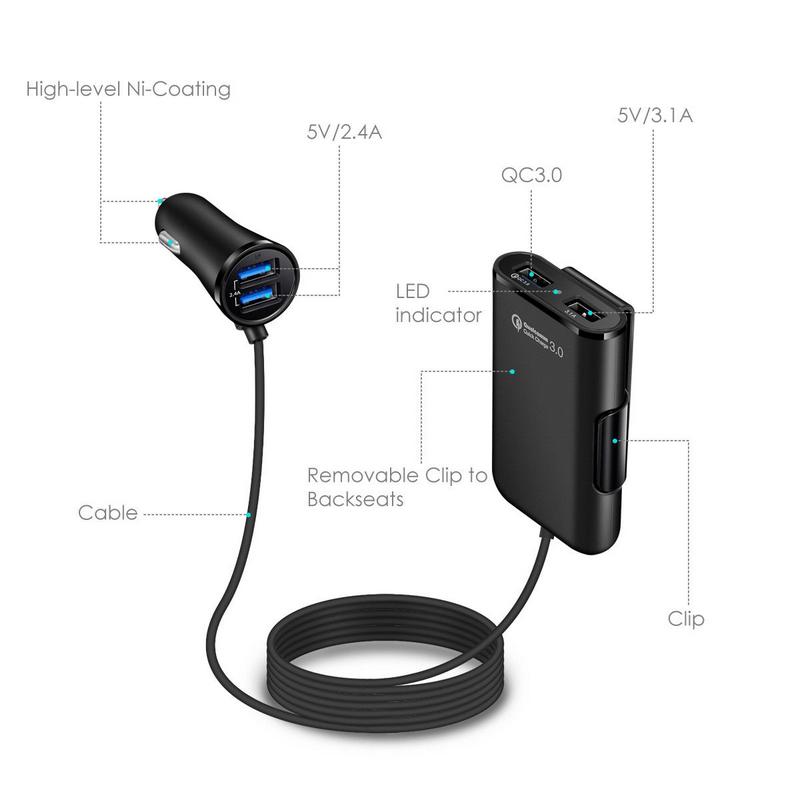 New 4 Port USB QC 3.0 Car Charger For Front Back Seat With Extension Cable for Samsung S7/S7 Edge HTC One A9 LG G5 Xiaomi 5