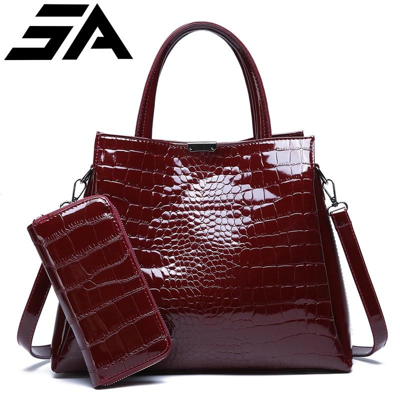 Marque de luxe crocodile femmes sac noir rouge en cuir verni femmes sacs à main ensemble grande capacité sac à bandoulière femme fourre-tout + portefeuille