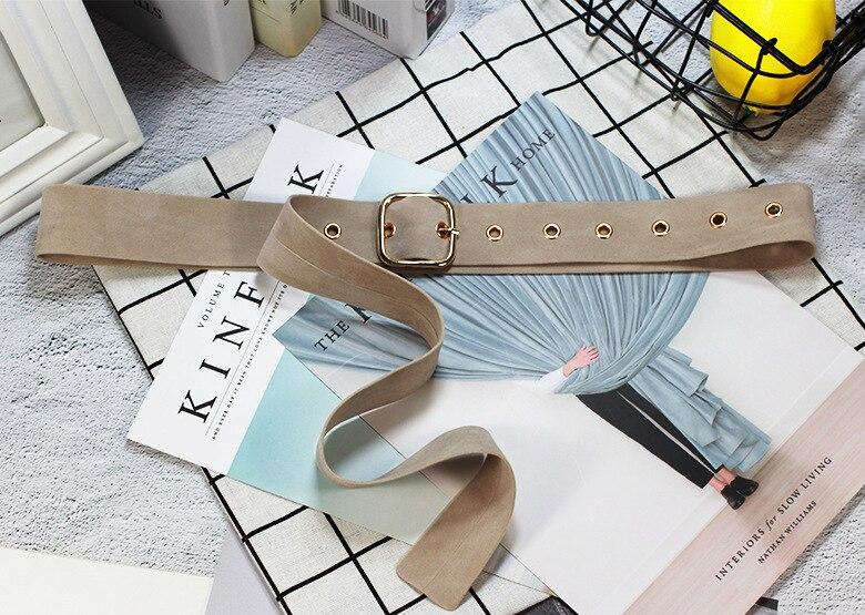Ретро Бархат квадратная пряжка декоративный пояс для талии корсет Omen для девочек пояс для женщин платье джинсы брюки - Цвет: Apricot