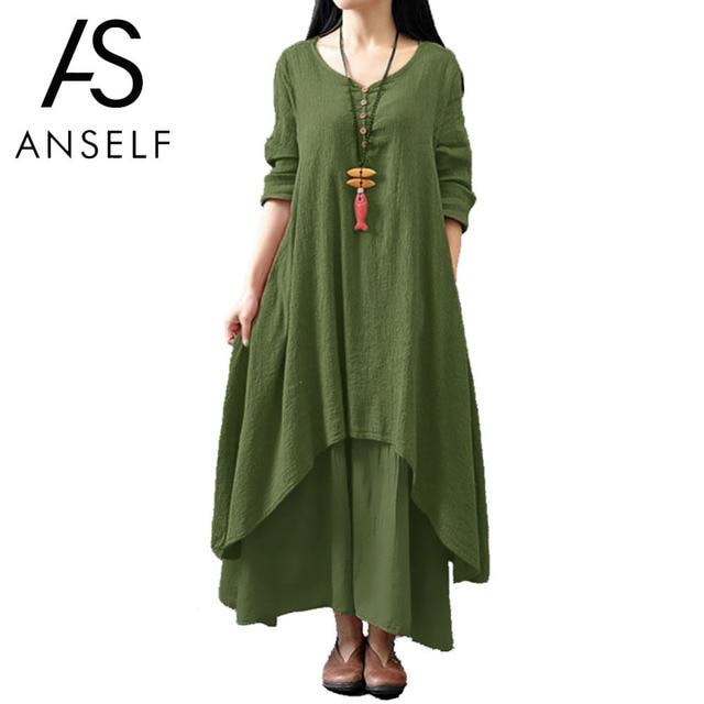 Anself 2019 נשים מקרית אביב שמלת Loose מלא שרוול V צוואר כפתור בתוספת גודל שמלת כותנה פשתן Boho הארוך מקסי שמלת Vestidos