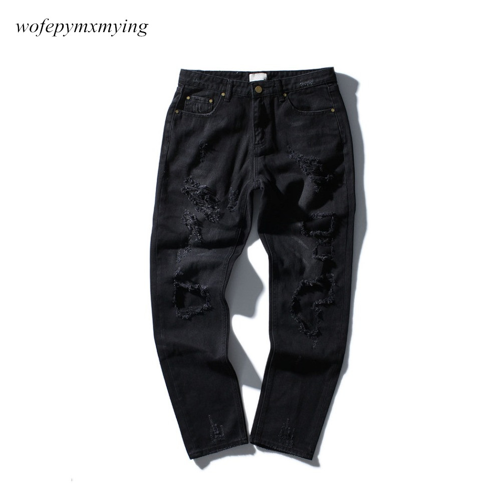 2017 Ripped Skinny Distressed Destroyed Mens jeans Street tide Damaged Embroidery Rose Printing Patch Beggar Jeans for Men