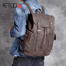 AETOO Retro head cowhide Large capacity shoulder bag leather backpack mad horse Leather travel Bag
