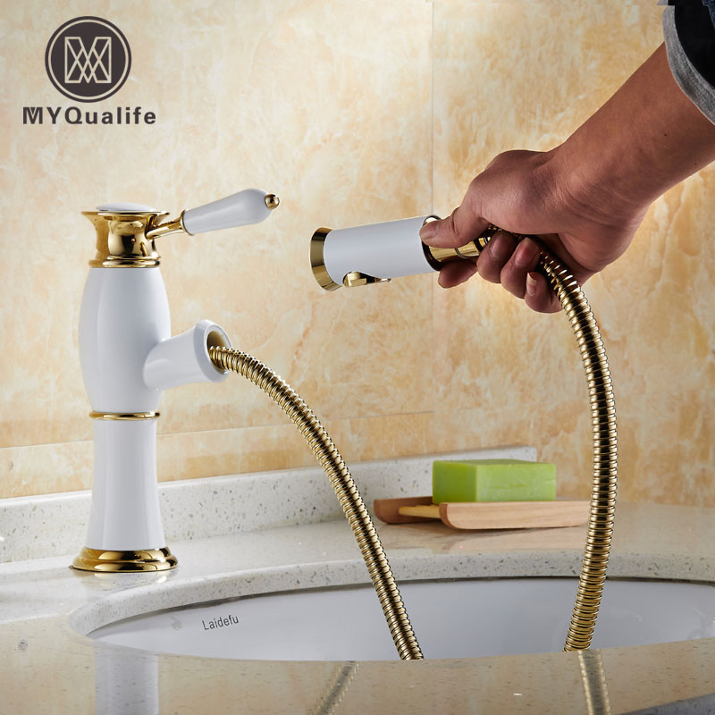 Free Shipping Golden White Basin Mixer Faucet Single Handle Bathroom Pull Out Vanity Sink Faucet Hot and Cold Tap kitchen chrome plated brass faucet single handle pull out pull down sink mixer hot and cold tap modern design