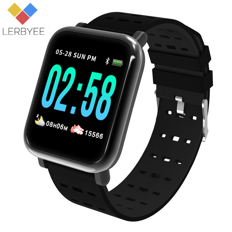 Lerbyee A6 Smart Watch Heart Rate Monitor Sport Fitness Tracker Blood Pressure Call Reminder Men Watch for iOS Android Gift smael 1708b
