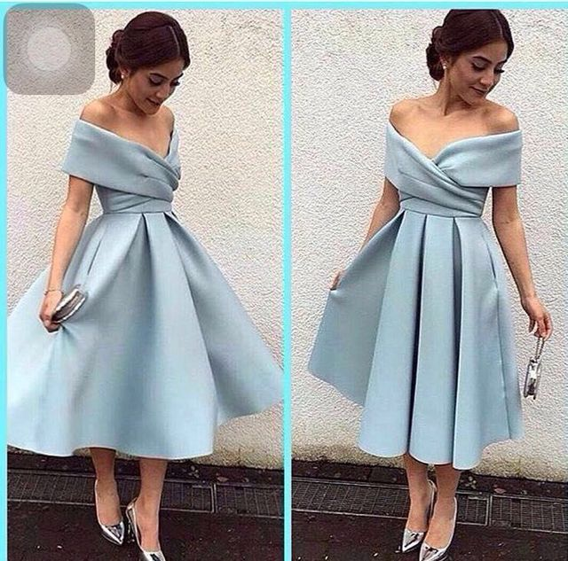 15dce01c0ee Tea Length Elegant vestido de noiva vintage 2018 boat neck Off the Shoulder  Party A-Line Blue Short Prom Gown Bridesmaid Dresses