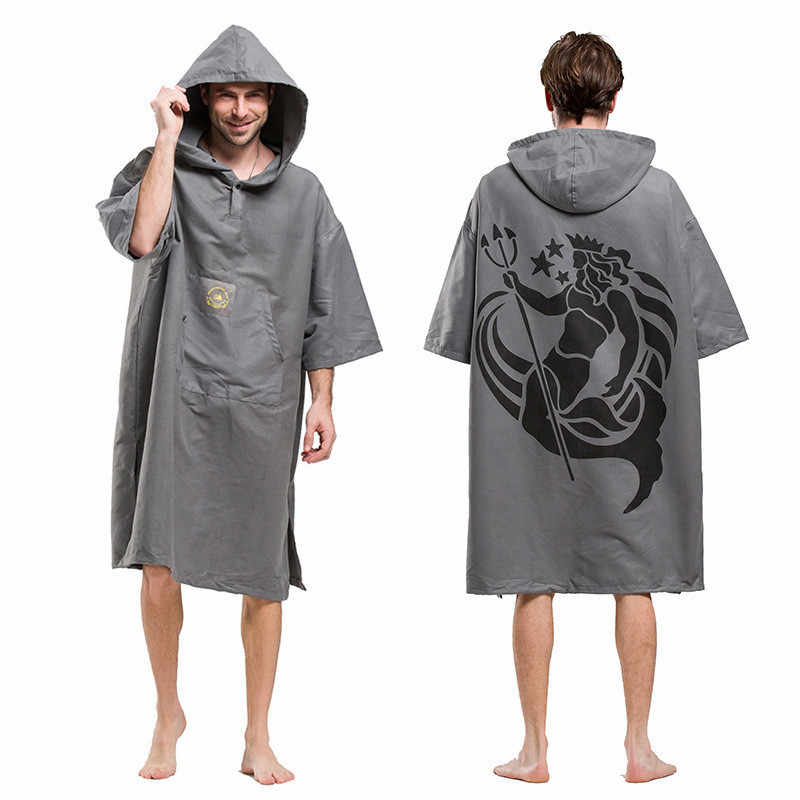 Fashion Poseidon Printing Changing Robe Bath Towel Outdoor Adult Hooded Beach Towel Poncho Bathrobe Towels Woman Men Bathrobe