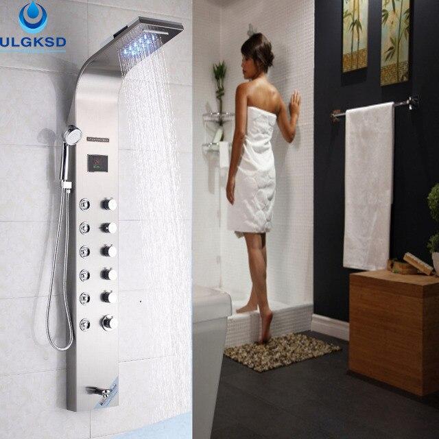 ulgksd dusche panel led frbung wand montiert wasserfall regendusche badewanne auslauf massagedsen - Wasserfall Regendusche