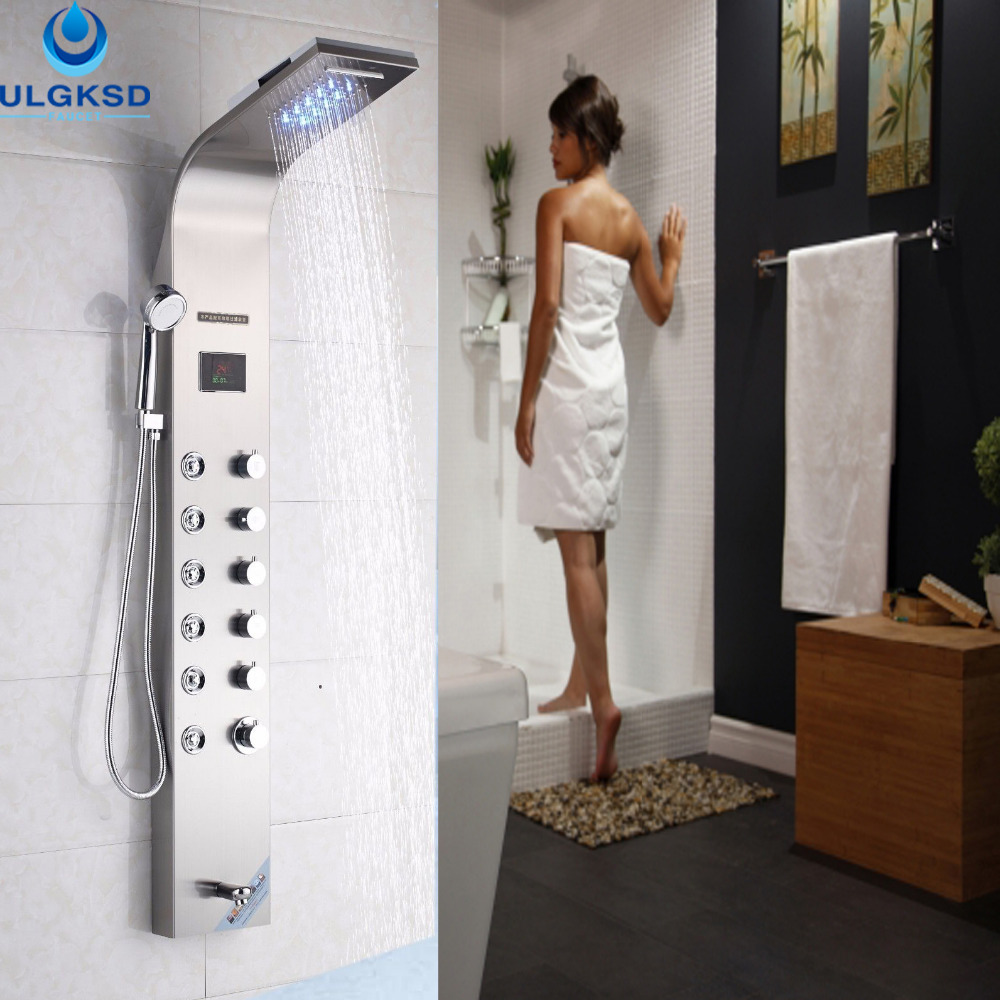 ULGKSD Shower Panel LED Coloring Wall Mounted Waterfall+Rainfall Shower+Tub Spout+Massage Jets+Handheld Bath Faucet Shower Panel