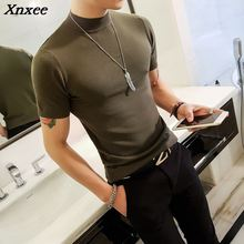 Long White T-shirt For Mens Sweaters Short Sleeve Turtleneck Erkek Kazak Slim Fit Stand Collar Social Club Sexy Tee Mens Green stand collar half breasted mens tee