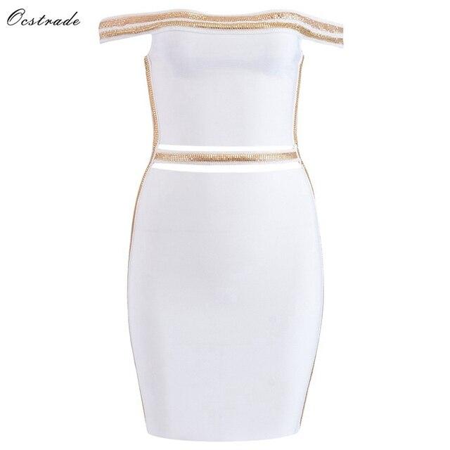 f16bbfdc765a2 Ocstrade New 2018 Women Vestidos Celebrity Inspired Jennifer Lopez Dress  White Sexy Off Shoulder Bandage Dress Celebrity Dresses