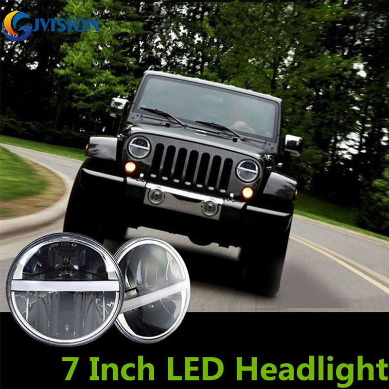 2017 Hot sell 7'' inch led projector headlight with 12V LED Motorcycle headlamp for Jeep Wrangler CJ JK Offroad Harley Davidson