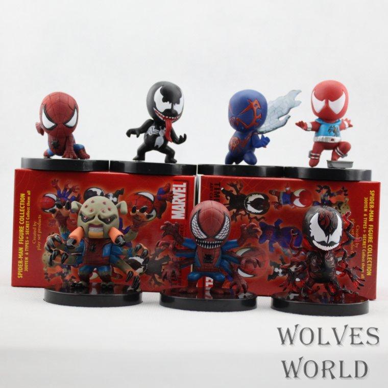 SANITGI Marvel Spider-Man SET PVC 6CM Action Figure Doll Kids Toys Freeshipping 7pcs/1set Super Heroes Pvc Collection Model 8pcs set 6cm marvel super hero batman pvc action figure model doll toys