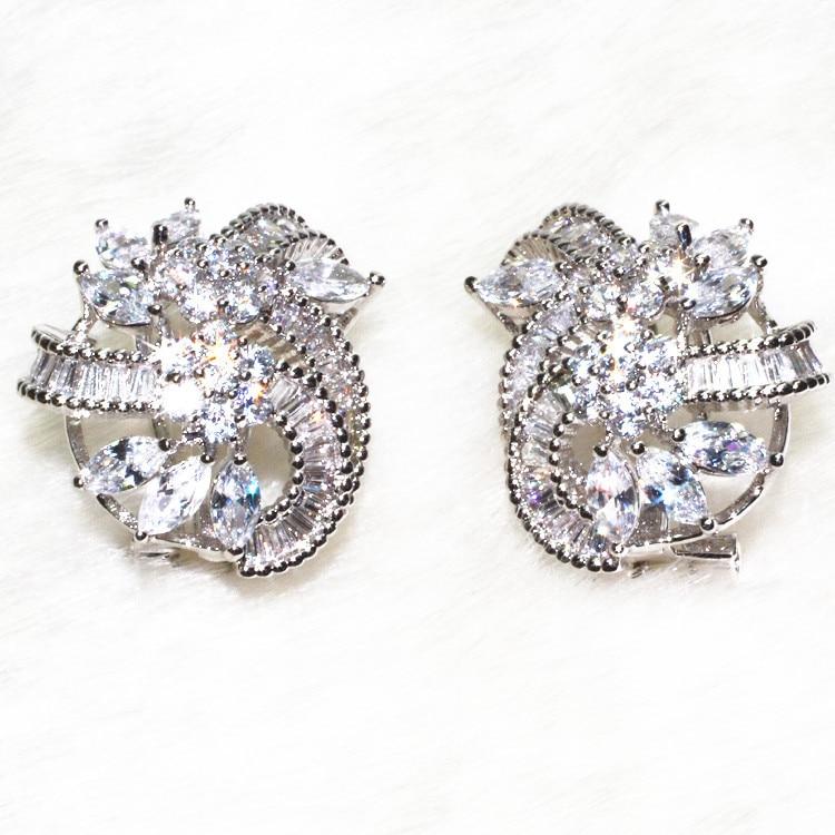 Flowers noble Earrings pebble 28 particle, T shaped stone 72 grain, horse eye stone 14 stud earring Jewelry AAA Zircon ALW1857