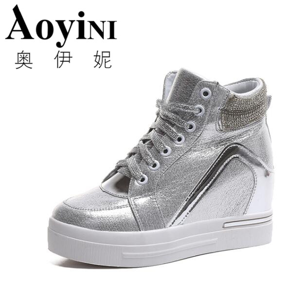 Hot Sales new 2018 spring Autumn silver White Hidden Wedge Heels Casual shoes Womens Elevator High-heels shoes for Women