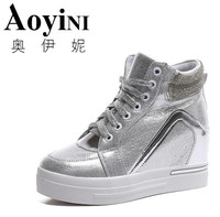 Hot Sales new 2018 spring Autumn silver White Hidden Wedge Heels Casual shoes Women's Elevator High heels shoes for Women