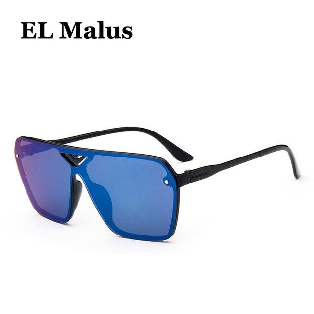 f3ddbea8c7  EL Malus 2018 New Big Frame Square Sunglasses UV400 Women Men Oversized  Anti Reflective Blue Black Lens Mirror Sun Glasses