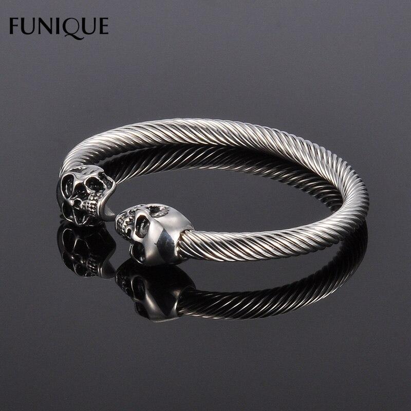FUNIQUE Punk Rock Stainless Steel Bracelet Men Antique Silver Gold ...