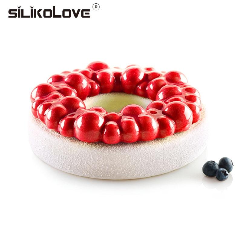 SILIKOLOVE Cerise Bulle Couronne Moule En Silicone Pour Gâteau Desserts Mousse Brownie 3D Gâteau Moule Cuisine Facile BRICOLAGE Outils De Cuisson