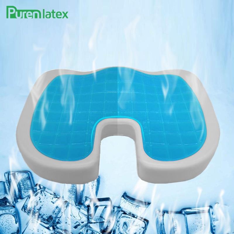 PurenLatex 46*36 di Figura di U Del Gel Del Silicone Cuscino Memory Foam Cuscino Coccige Proteggere Rimbalzo Lento Fresco D'estate Cuscino Sedia Tappetino del sedile